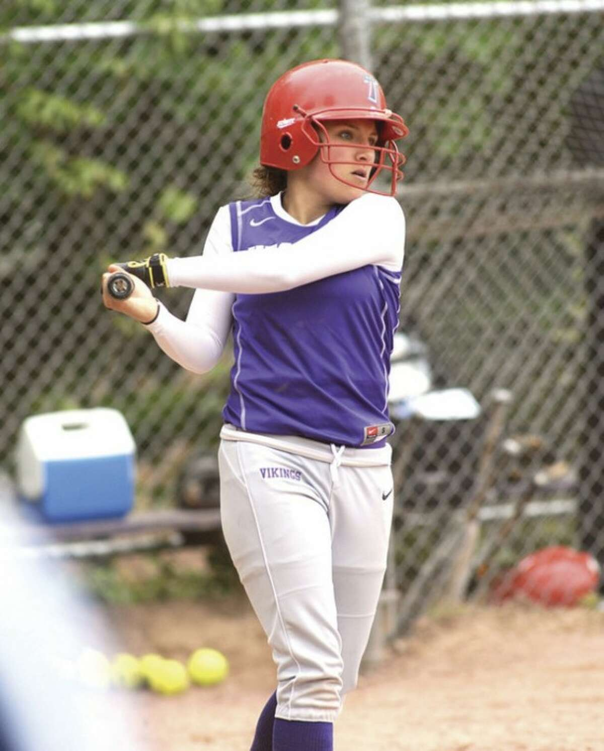 Photo by John Nash Westhill senior Allie Souza takes a cut in the on-deck circle during one of the Vikings' recent games. Souza is the 2012 winner of the Allyson Rioux Scholarship -- an award that was even more special to her because she was named after the late Westhill three-sport standout.