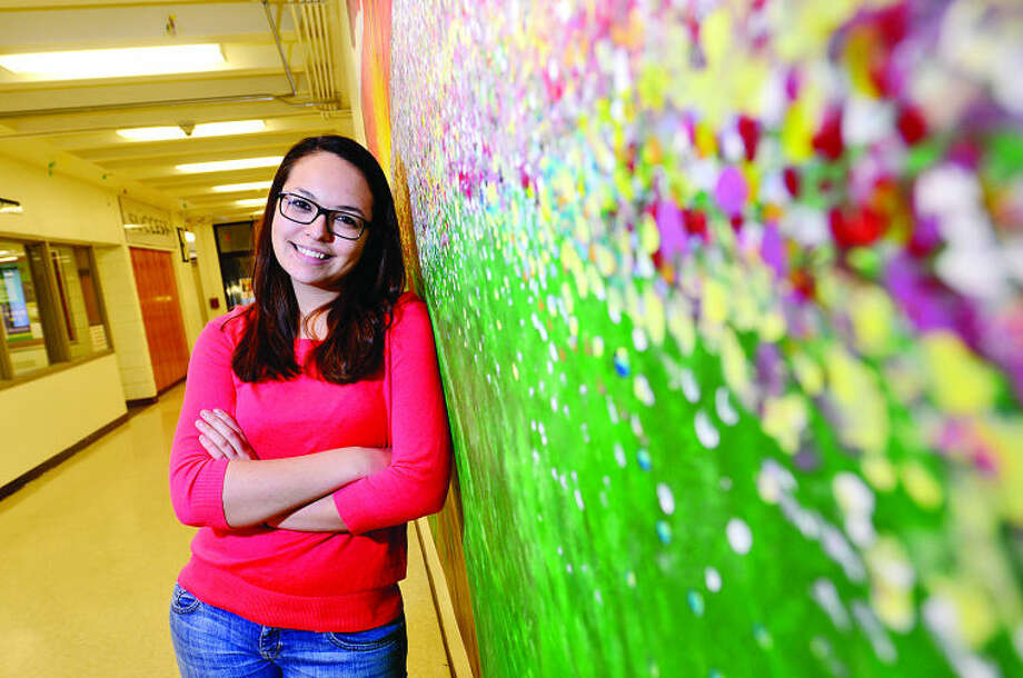 Angelica Vazquez, a NHS junior who came here from Colombia at 3, is getting her social security card on deferred action and is an ambassador for the CT Students for a Dream at NHS which empowers undocumented students. Hour photo / Erik Trautmann