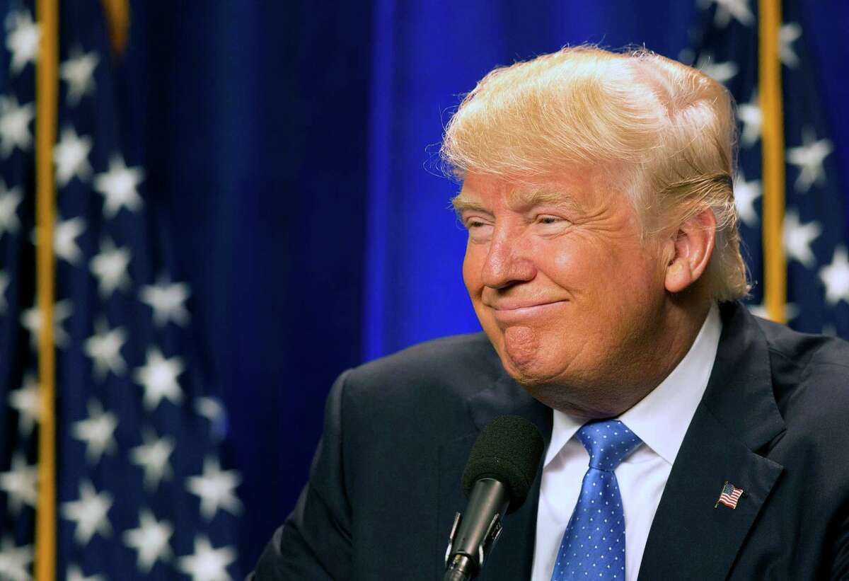 Republican presidential candidate Donald Trump speaks at Saint Anselm College Monday, June 13, 2016, in Manchester, N.H. The Trump campaign has paid San Antonio firm Giles-Parscale more than $1.9 million since May 2015 for website development and digital consulting.