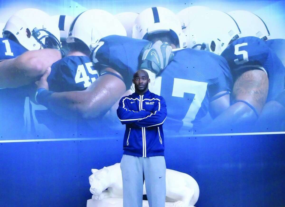 Photo by Joe Ryan - Penn State running back Silas Redd, who hails from Norwalk and attended King Low Heywood Thomas in Stamford, stands inside the school's football building on Sunday, a day after the 2012 Spring Game.