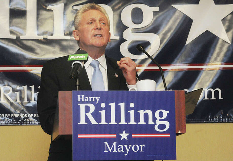 Hour photo/Matthew VinciFormer Norwalk Police Chief Harry Rilling announces that he will run for Mayor in 2013 at the Norwalk Hilton Garden Inn on Sunday.