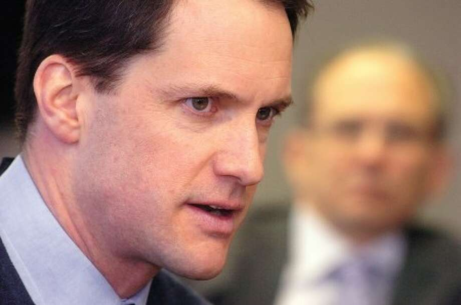 Photo/Alex von Kleydorff. Congressman Jim Himes meets Tuesday with the Editorial Board at The Hour Newspapers, which includes The Stamford Times.