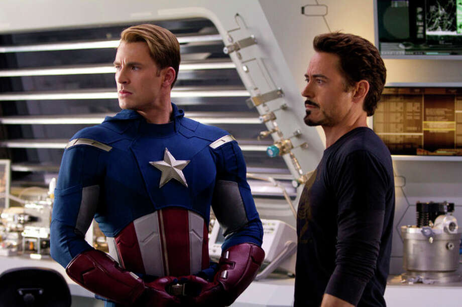 "In this film image released by Disney, Chris Evans, portraying Captain America, left, and Robert Downey Jr., portraying Tony Stark, are shown in a scene from ""Marvel's The Avengers"" (AP Photo/Disney, Zade Rosethal) / © 2011 MVLFFLLC.  TM & © 2011 Marvel.  All Rights Reserved. © 2011 MVLFFLLC.  TM & © 2011 Marvel.  All Rights Reserved."