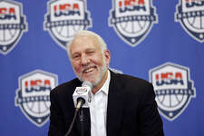 Gregg Popovich speaks during a Team USA news conference at the Spurs' practice facility in San Antonio on Oct. 23, 2015.