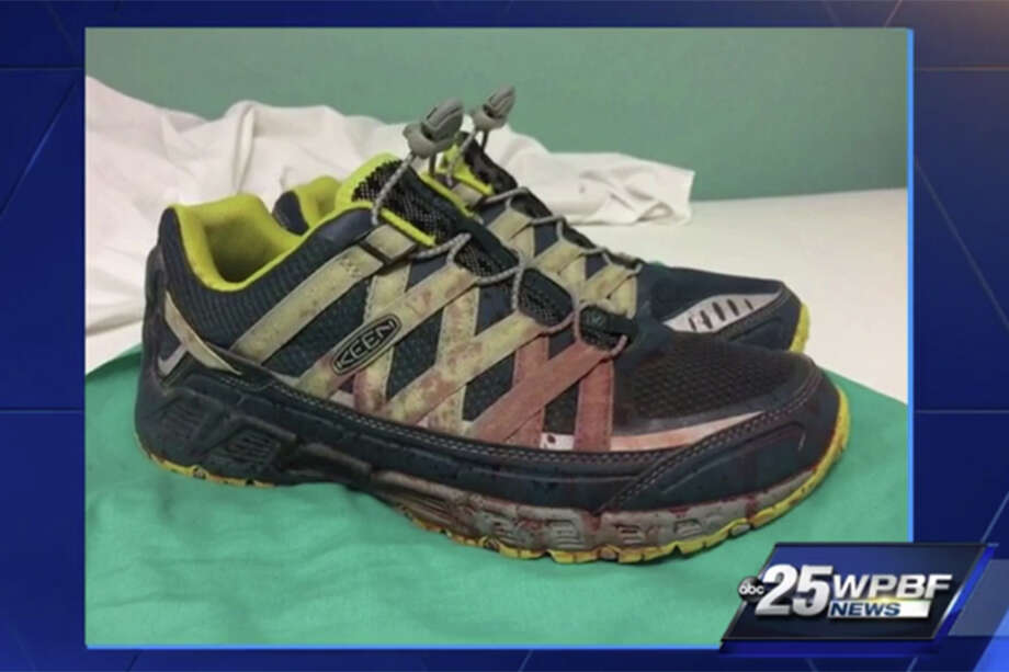 A photo of the bloody shoes belonging to an Orlando doctor who treated the victims of the Pulse nightclub shooting has been getting a lot of attention in social media and news outlets. (Screenshot of a report on WPBF in West Palm Beach)