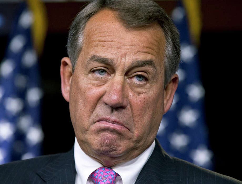 House Speaker John Boehner, R-Ohio, pauses while meeting with reporters during a news conference on Capitol Hill in Washington, Thursday, Feb. 28, 2013, to answer questions about the impending automatic spending cuts that take effect March 1. (AP Photo/J. Scott Applewhite) / AP
