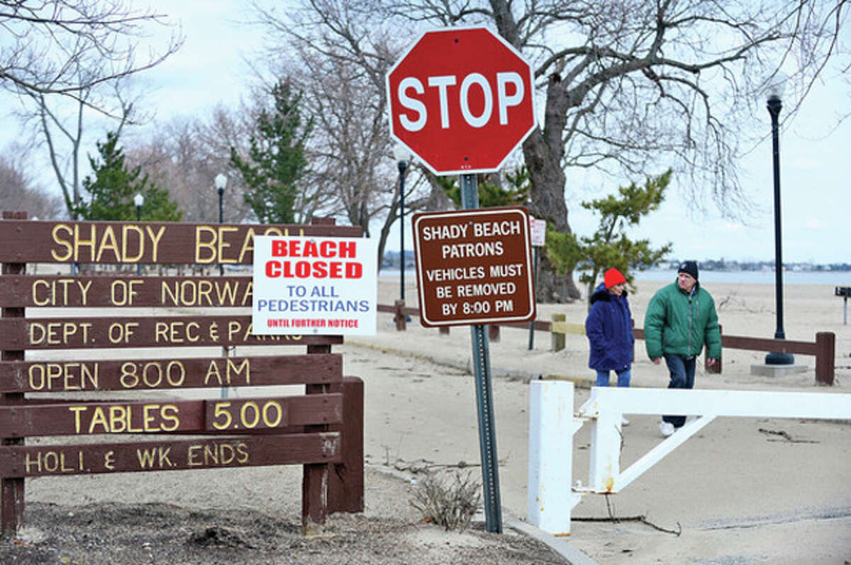 The Norwalk Recreation and Parks Department plans to have the beach in good repair by the end of April despite severe storm damage from Sandy and subsequent storms. Hour photo / Erik Trautmann