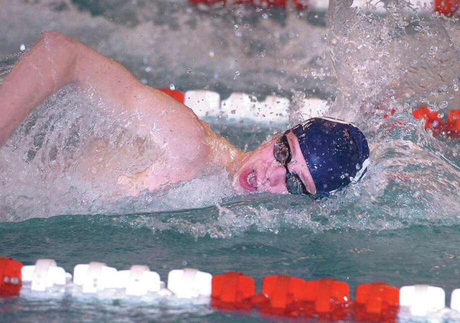 Hour photo/Alex von KleydorffJonathon Blansfield of Staples swims the 200 freestyle at Thursday's FCIAC boys swim championships in Greenwich. Blansfield won the 500 free and was one of the co-MVPs of the meet. / 2013 The Hour Newspapers