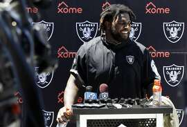 Defensive lineman Mario Edwards Jr. speaks to the media after Raiders practice in Oakland, California, on Tuesday, June 14, 2016.