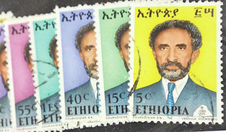 A stamp depicting Haile Sellasie of Ethopia was for sale at the Norwalk Stamp Club annual Stamp Show at the Norwalk Senior Center Saturday.Hour photo / Erik Trautmann / (C)2013, The Hour Newspapers, all rights reserved