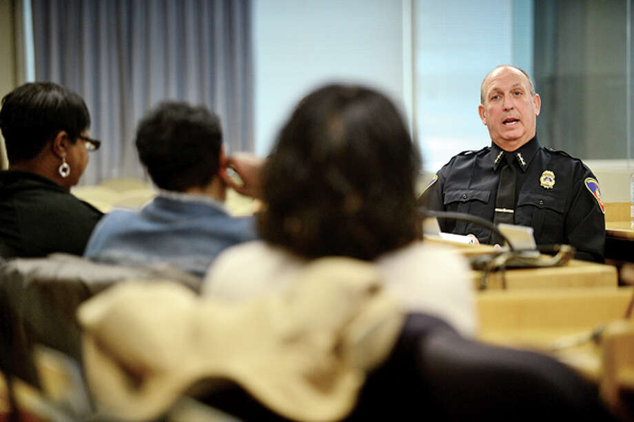 """Stamford's new Chief of Police, Jonathon Fontneau, speaks to residents of the Downtown and West Side at the """"Meet the Chief"""" Public Forum Saturday at the Government Center. Hour photo / Erik Trautmann / (C)2013, The Hour Newspapers, all rights reserved"""