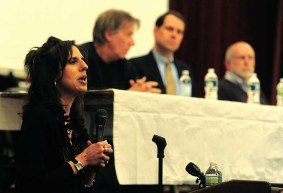 Joyce Sixsmith, substance abuse counselor with the Lower Fairfield County Regional Action Council is the moderator at Stamford High School''s teen substance abuse forum on Tuesday. hour photo/matthew vinci