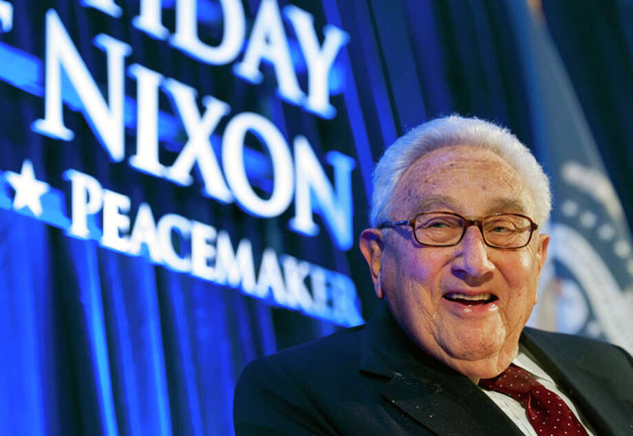 FILE - In this Wednesday, Jan. 9, 2013 file photo, Henry Kissinger, secretary of state for President Richard Nixon, addresses the Richard Nixon Centennial Birthday Celebration in Washington. Kissinger was admitted to New York-Presbyterian Hospital on Tuesday, March 5, 2013 for observation after a fall in his home. He was released the same day. (AP Photo/Cliff Owen) / FR170079 AP