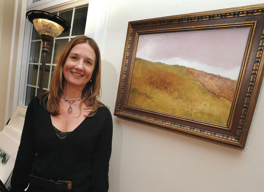 Hour photo/Matthew VinciARTWorks Gallery on the Green's opening Tuesday evening was sponsored by Seabury Academy and was held at the Chittim-Howell House of St. Paul's on the Green. Artist Carla Wales was the featured artist here with one of her works which is metal leaf and oil work called Homage to Homer. We are featuring a wonderful local artist, Carla Wales, whose studio is in the Firing Circuits Art Studios.