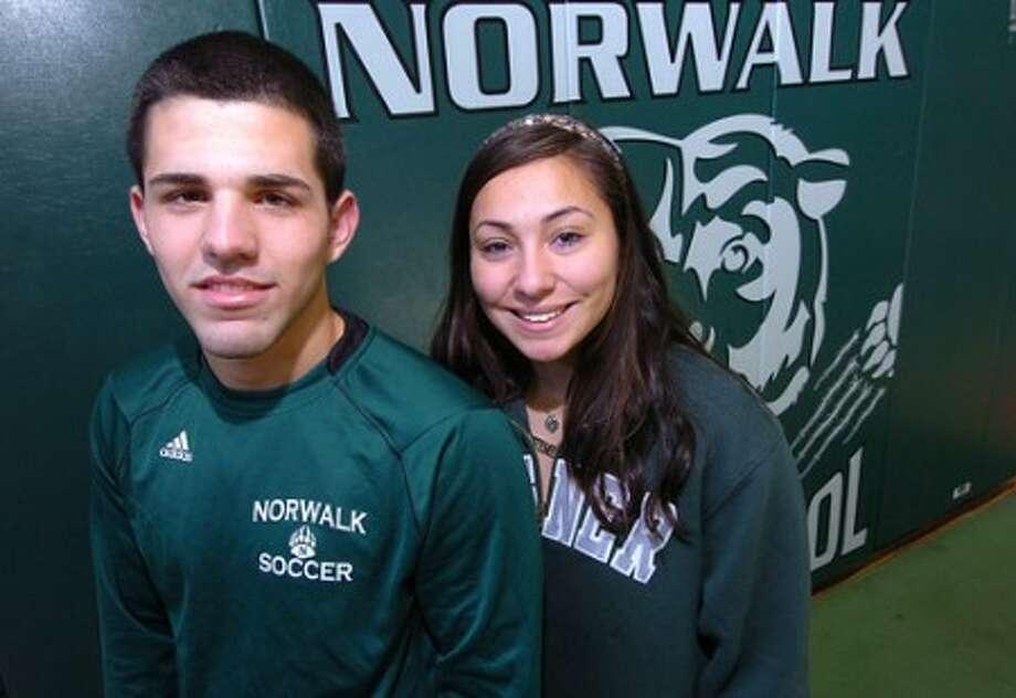Photo/Alex von Kleydorff. Andres Torres and Lindsay Macri Norwalk High Soccer