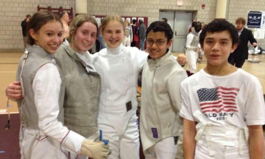 Team huddle (L-R): Zoe Howard (Weston), Megan Roughan, Tessa Markham, Jai Nagpal, Liam Smith