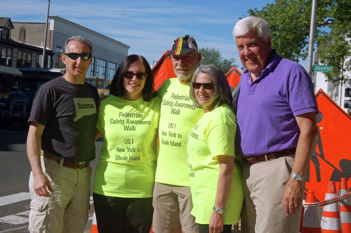 From left: Greenwich resident Vince DiMarco, town resident Pamela Ritt, Ray Rauth, Carolyn Arnold and town resident Paul Settelmeyer. Rauth is walking across Connecticut along Route 1 to bring awareness to pedestrian and bicycle safety.