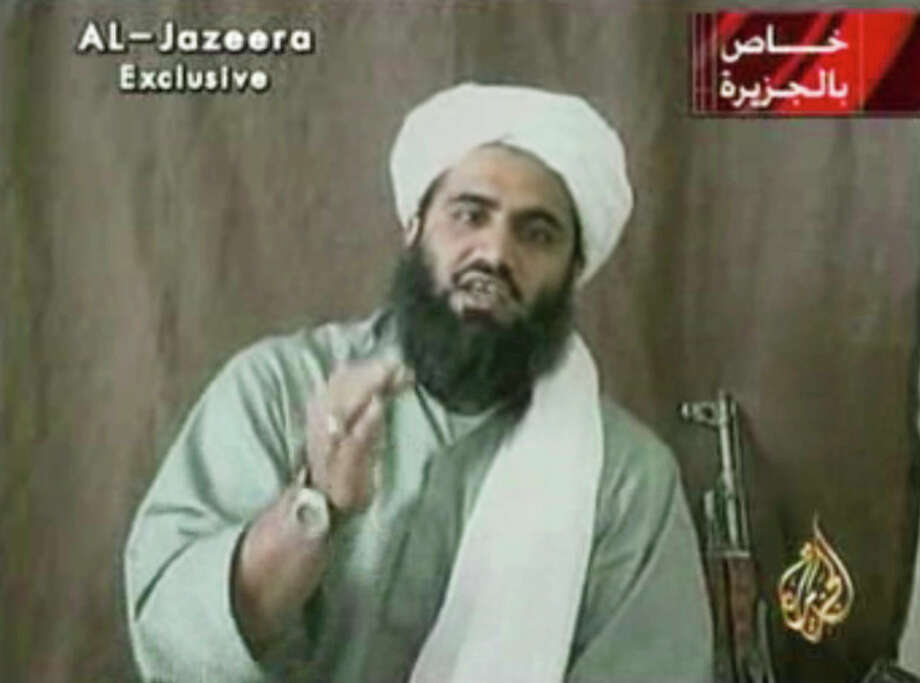 "This image made available by Al-Jazeera shows Sulaiman Abu Ghaith, Osama bin Laden's son-in-law and spokesman. Abu Ghaith has been captured by the United States, officials said Thursday, March 7, 2013, in what a senior congressman called a ""very significant victory"" in the fight against al-Qaida. (AP Photo/Al-Jazeera) / Al-Jazeera"