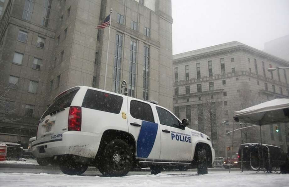 A Homeland Security vehicle sits in front of a federal court in New York on March 8, 2013, where Sulaiman Abu Ghaithwhere, a senior al-Qaida leader and son-in-law of Osama bin Laden, pleaded not guilty to plotting against Americans in his role as the terror network's top spokesman. The case marks a legal victory for the Obama administration, which has long sought to charge senior al-Qaida suspects in U.S. federal courts instead of holding them at the military detention center at Guantanamo Bay, Cuba. Charging foreign terror suspects in federal courts was a top pledge by President Barack Obama shortly after he took office in 2009, aimed, in part, to close Guantanamo Bay. (AP Photo/Peter Morgan) / AP