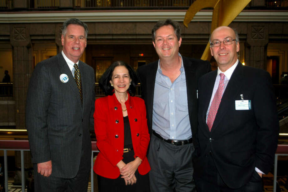 Contributed photo Greater Norwalk Chamber of Commerce President and CEO Edward Musante, State Rep. Gail Lavielle, Norwalk Chamber's Michael Devine, and Chamber Chairman Harry Carey at Connecticut Business Day this week.