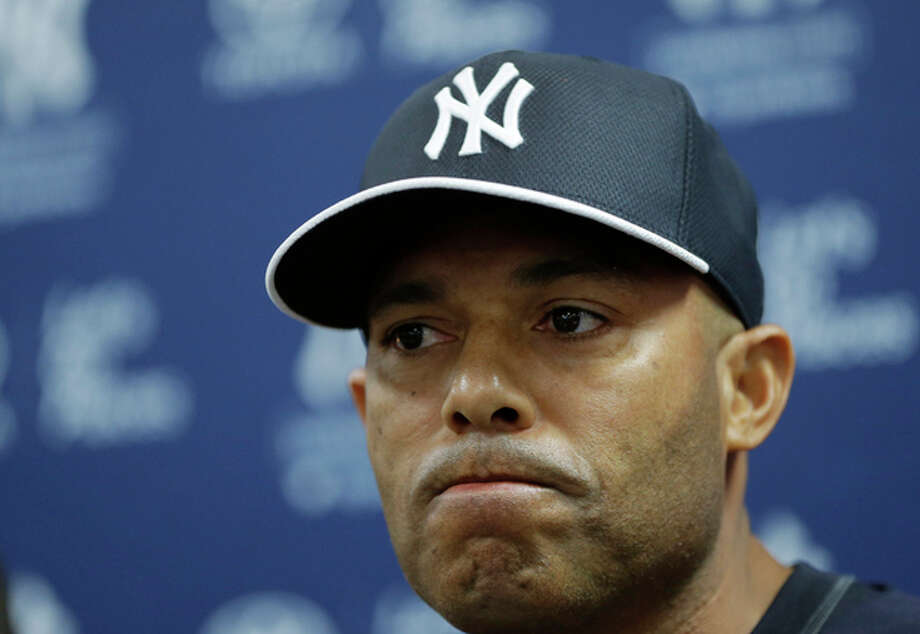 New York Yankees pitcher Mariano Rivera, who holds baseball's all-time saves record, announces his plans to retire at the end of the 2013 season during a news conference at Steinbrenner Field Saturday, March 9, 2013 in Tampa, Fla. (AP Photo/Kathy Willens) / AP