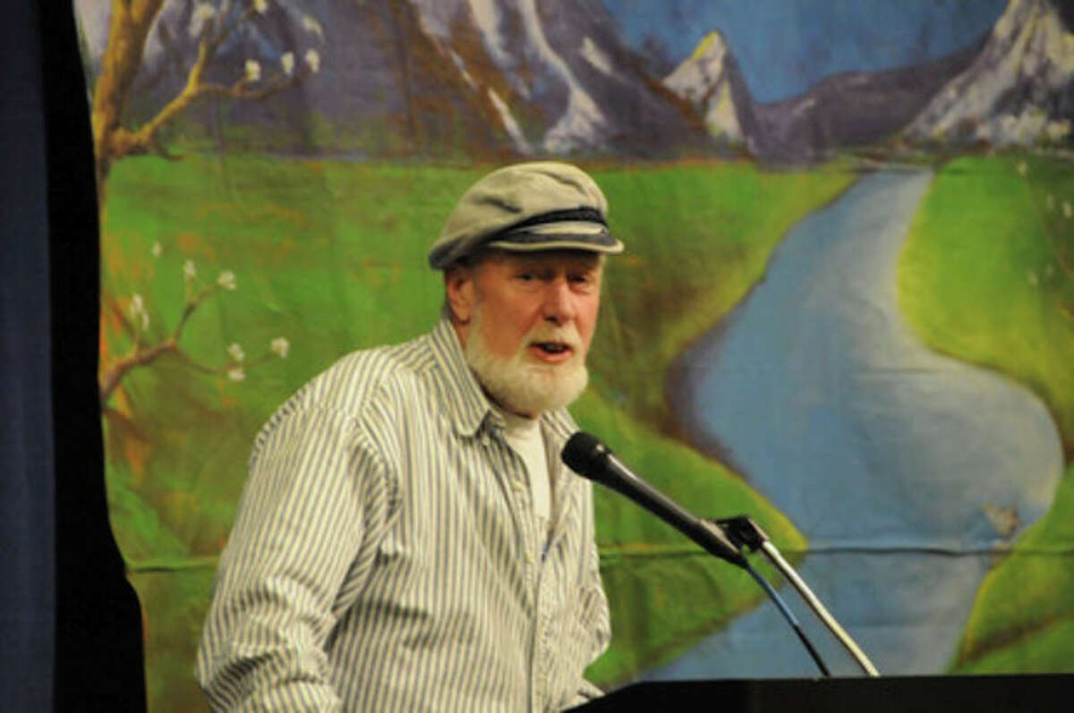 Contributed photo Terry Backer, director of Norwalk-based Soundkeeper, accepts his River Hero award in Portland, Oregon, recently.