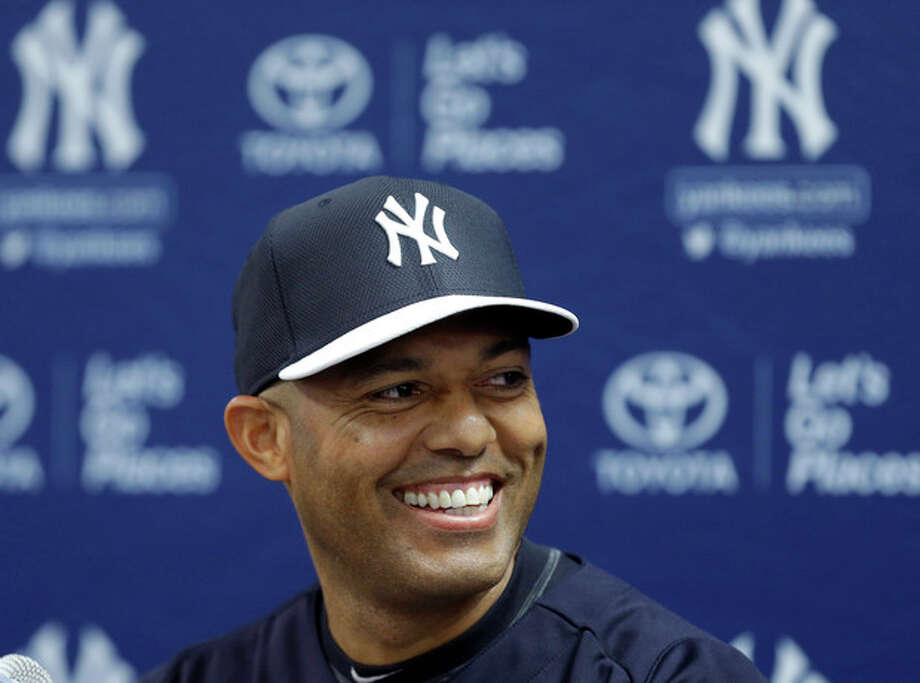 New York Yankees pitcher Mariano Rivera, who holds baseball's all-time saves record, announces his plans to retire at the end of the 2013 season during a news conference at Steinbrenner Field, Saturday, March 9, 2013, in Tampa, Fla. (AP Photo/Kathy Willens) / AP