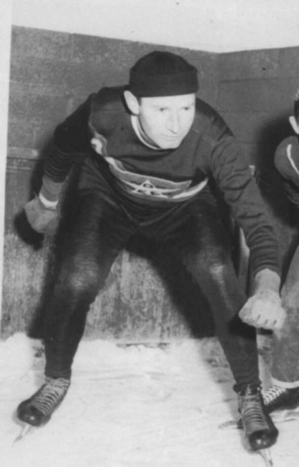 Joe Janciof Norwalk gets readyto skate at Norwalk's Crystal Rink in 1955, just prior to competng in the Silver Skates Dery at the old Boston Garden. Janci was one of the top speed skaters of his era.Contributed photo