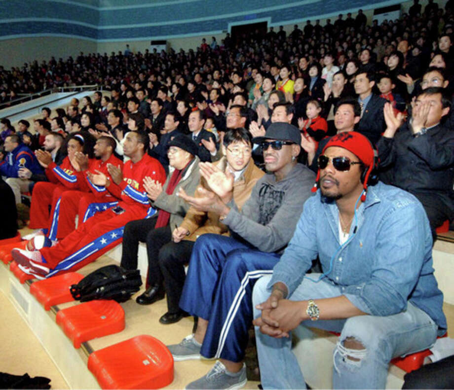 Ap photoIn this image released by the Korean Central News Agency and distributed by the Korea News Service, former NBA star Dennis Rodman, second right in front row, visits a dolphin aquarium in Pyongyang in North Korea Friday. / KCNA VIA KNS