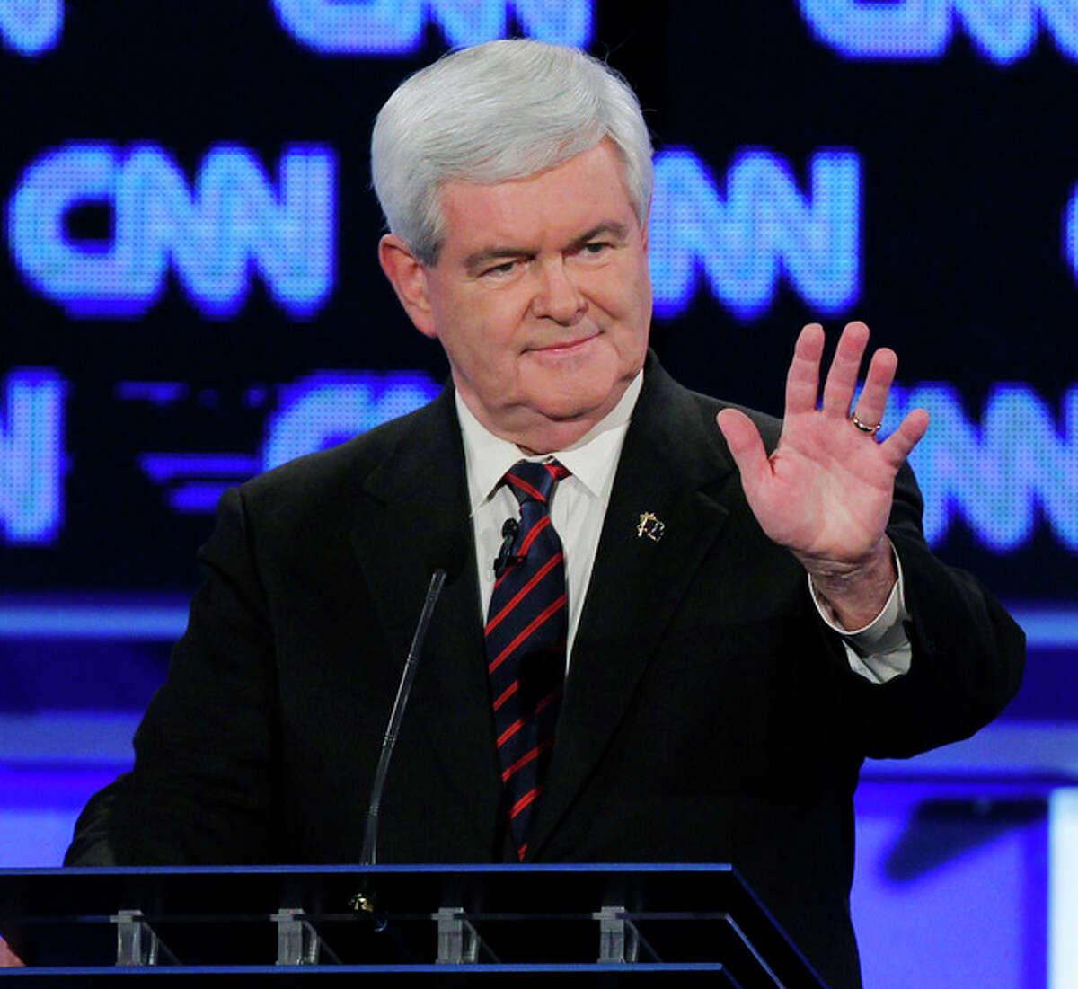 Republican presidential candidate former House Speaker Newt Gingrich participates in the Republican presidential candidates debate in Jacksonville, Fla., Thursday, Jan. 26, 2012. (AP Photo/Matt Rourke)