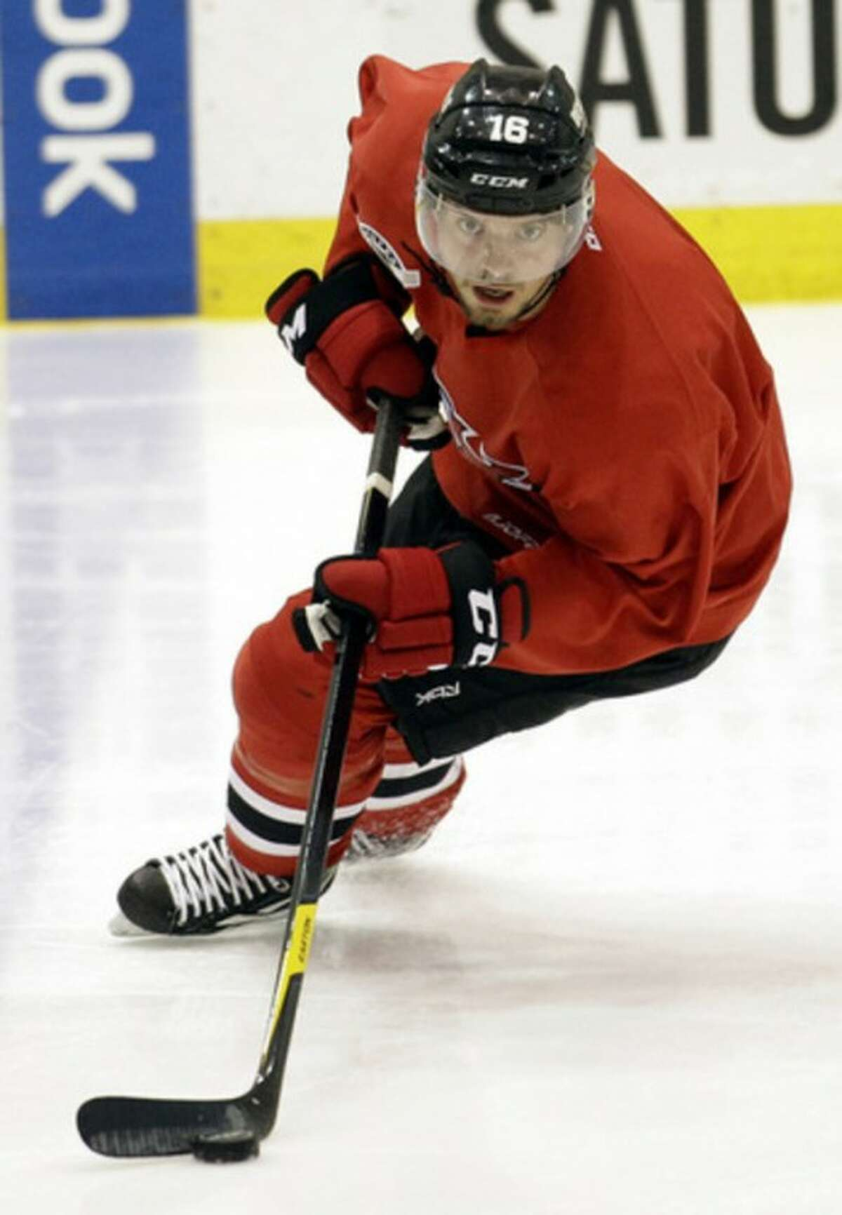 New Jersey Devils' Jacob Josefson, of Sweden, skates at the team's practice rink, Tuesday, May 15, 2012, in Newark, N.J. A day earlier, the Devils lost 3-0 to the New York Rangers in Game 1 of the NHL hockey Stanley Cup Eastern Conference final playoff series. Game 2 is Wednesday in New York. (AP Photo/Julio Cortez)