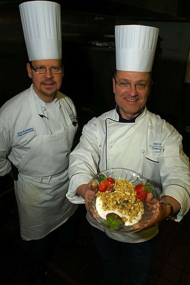 President of David''s Soundview Catering, David Cingari, and Executive Chef, Erik Anderson, prepare for the Maple Syrup Chef Cook-Off at First County Bank in Stamford this Saturday. Hour photo / Erik Trautmann