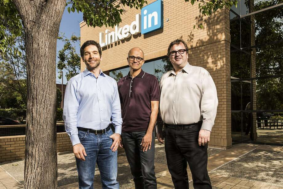 LinkedIn CEO Jeff Weiner (left), Microsoft CEO Satya Nadella and LinkedIn co-founder Reid Hoffman. Photo: MICROSOFT, NYT