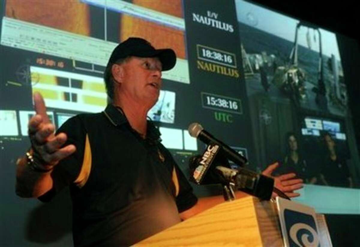 Dr. Robert Ballard, president of the Sea Research Foundation at the Mystic Aquarium Institute for Exploration, announces details about his next expedition at the Nautilus Live Theater at the Mystic Aquarium Institute of Exploration, in Mystic, Conn., Thursday, July 28, 2011. Ballard, best known for discovering the Titanic wreck, has new plans to plumb the depths of the seas. Ballard said Thursday that his latest deep-sea venture will send crews combing through the Black, Aegean and Mediterranean seas for artifacts from ship wrecks and ancient civilizations. (AP Photo/The Day, Tim Martin) MANDATORY CREDIT