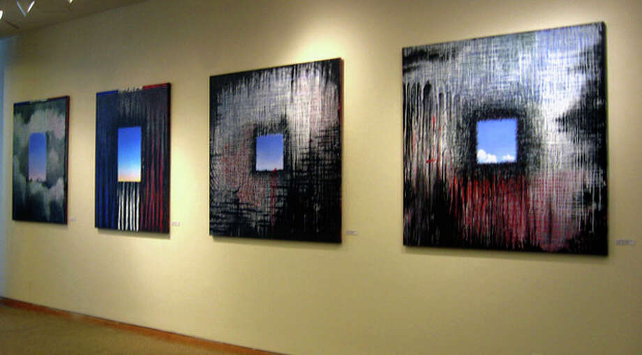 "AP photo / EJay Weiss This group of four paintings at the Narthex Gallery at Saint Peter's Lutheran Church in New York is part of a series of 12 canvas panels by EJay Weiss titled, ""9/11 Elegies: 2001-2011."" / Ejay Weiss"