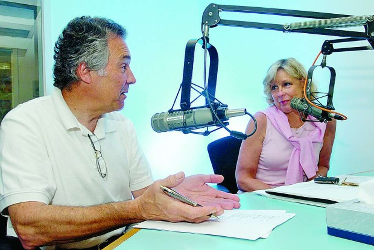 Dennis Patouhas and Dawn DelGreco host a weekly radio show, The Healthy Aging Show, at WNLK in Norwalk. Hour photo / Erik Trautmann