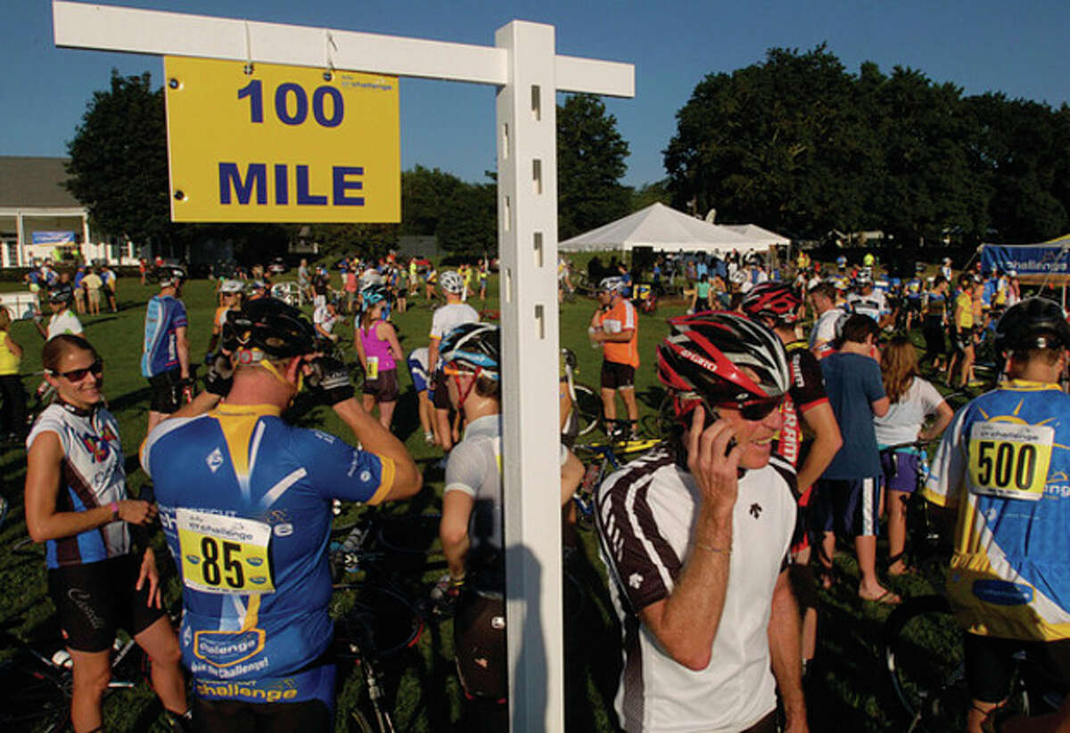 Riders gather for The 2011 Connecticut Challenge Bike Ride at Fairfield County Hunt Club in Westport Saturday.