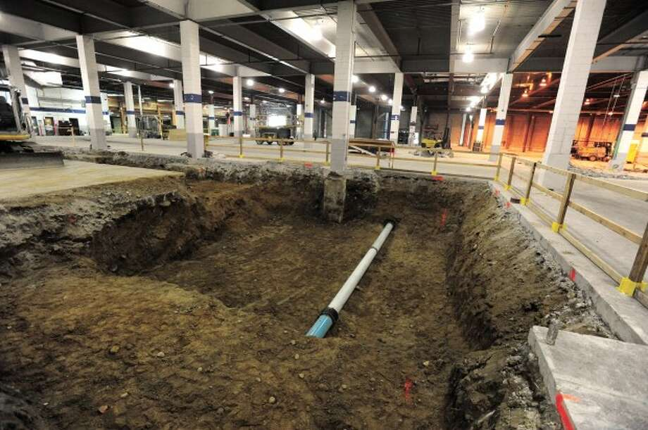 The area of Chelsea Piers Connecticut that will be the gymnastics foam pit under construction on Thursday. photo/matthew vinci