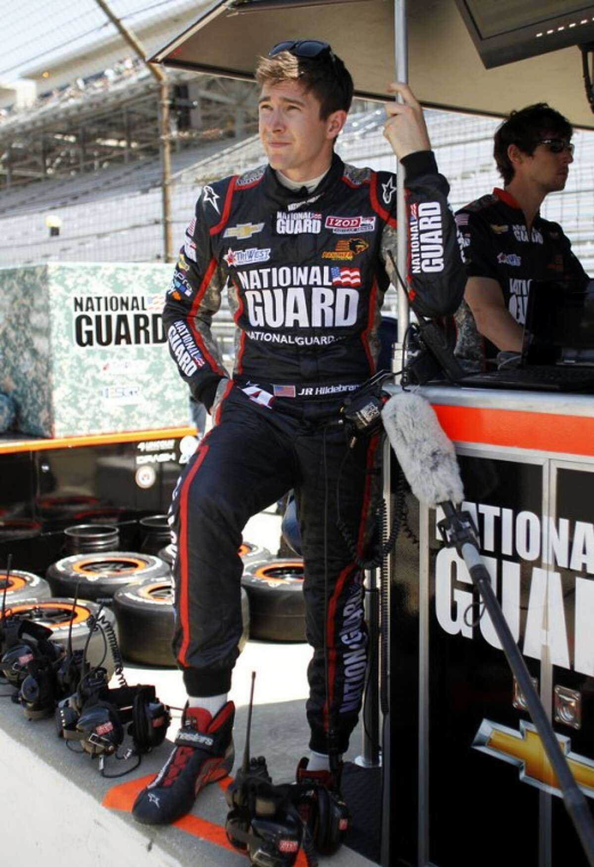 IndyCar driver JR Hildebrand waits for the start of practice for the Indianapolis 500 auto race at the Indianapolis Motor Speedway in Indianapolis, Friday, May 18, 2012. (AP Photo/Tom Strattman)