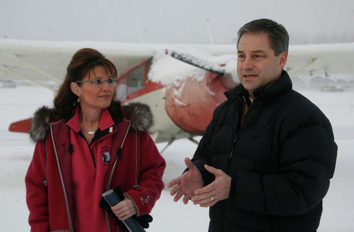 HOLD FOR STORY FILE - In this Feb. 20, 2009 file photo, former Alaska Gov. Sarah Palin, left, and then Lt. Gov. Sean Parnell are seen in in Wasilla, Alaska. It's deja vu in Alaska with governor Parnell addressing a high profile gathering of conservatives and making the case for energy independence and the need to tap the oil and gas stores in the state on a national stage. It's exactly what Sarah Palin did four years ago. (AP Photo/Al Grillo, file)