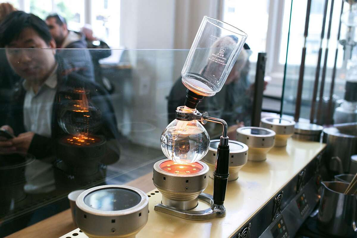 The siphon station at Blue Bottle Coffee in SOMA.