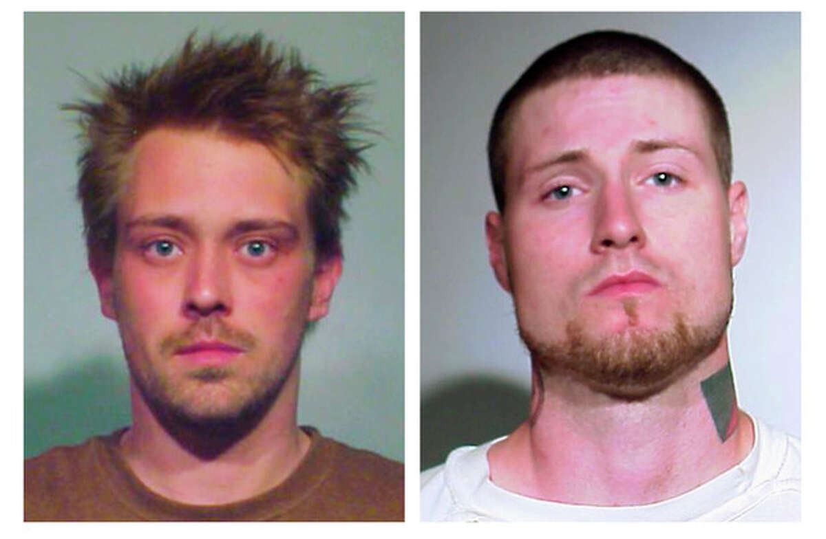 This combo of undated photos provided Sunday, May 20, 2012, by the Chicago Police Department shows from left, Sebastian Senakiewicz, 24, of Chicago, and Mark Neiweem, 28, authorities believe to be from Chicago. Prosecutors said Sunday they have charged Senakiewicz with falsely making a terrorist threat and Neiweem with attempted possession of explosives or incendiary devices as part of an ongoing investigation into activists who planned to take part in demonstrations at the two-day NATO summit. (AP Photo/Chicago Police Department)
