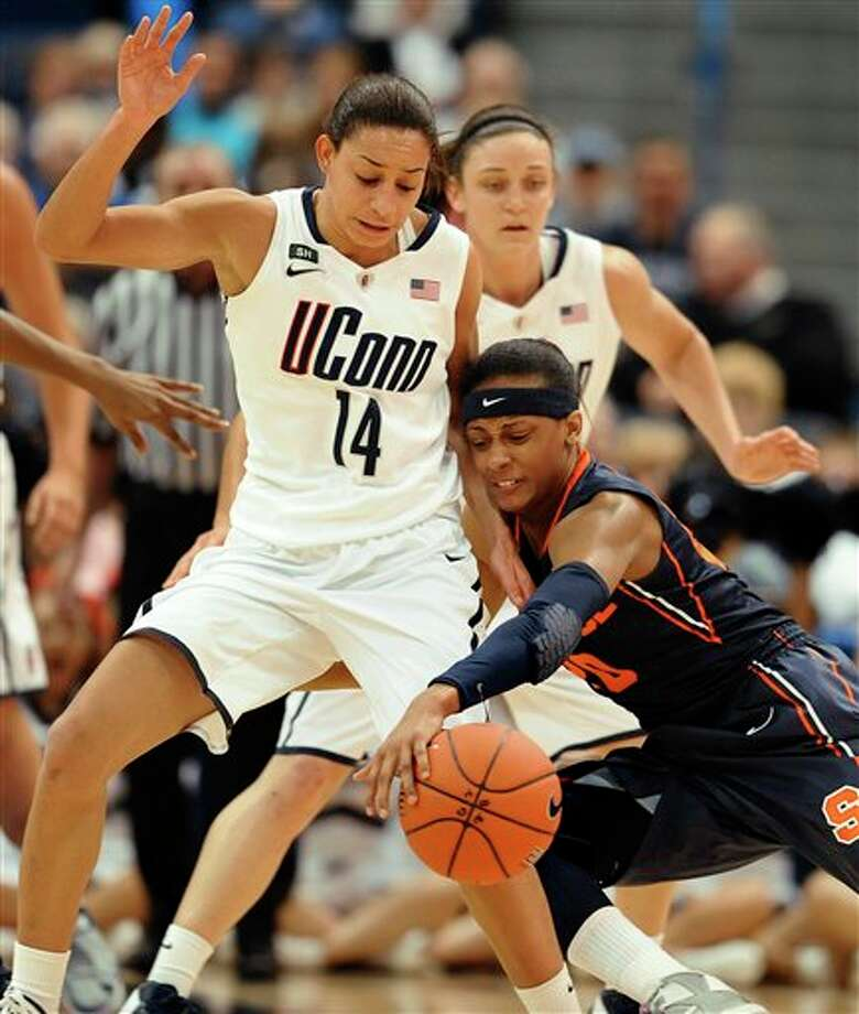 Syracuse's Brittney Sykes, right, tries to maintain control of the ball as Connecticut's Bria Hartley, left, defends in the first half of an NCAA college basketball game in the semifinals of the Big East Conference women's tournament in Hartford, Conn., Monday, March 11, 2013. (AP Photo/Jessica Hill) / FR125654 AP