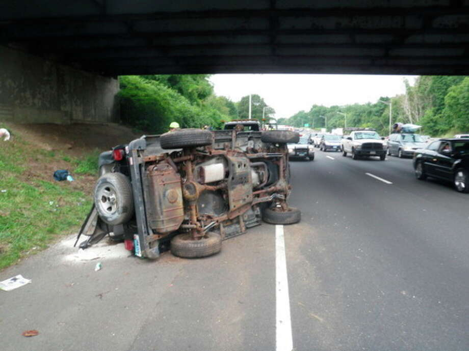A state woman rolled her Jeep on I-95 Thursday morning.
