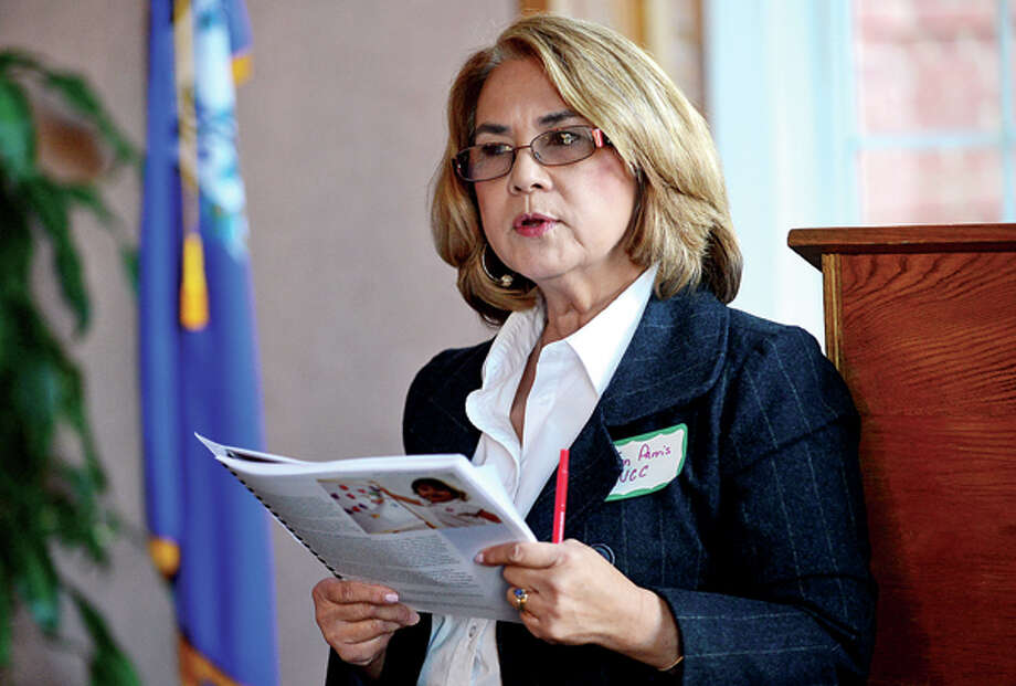Joan Parris speaks at The Norwalk Early Childhood Council (NECC)Early Childhood Plan Launch as they release the details of their 2013-2016 plan Wednesday morning in the City Hall Community Room. Hour photo / Erik Trautmann / (C)2013, The Hour Newspapers, all rights reserved