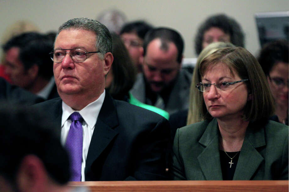 Tyler Clementi's parents, Joseph Clementi and Jane Clementi, look on during a sentencing hearing for Dharun Ravi, in New Brunswick, N.J., Monday, May 21, 2012. Ravi, a former Rutgers University student who used a webcam to watch his roommate, Tyler Clementi, kiss another man days before Clementi killed himself, was sentenced Monday to 30 days in jail. A judge also gave 20-year-old Dharun Ravi three years of probation. (AP Photo/Mel Evans) / AP