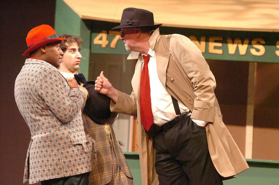 Hour File Photo/Alex von Kleydorff. Bo Kane as Lt. Brannigan with Austin Ferentzy as Nicely Nicely Johnson and Demani Vaughn as Benny Southstreet in Guys and Dolls at BrienMcMahon High School
