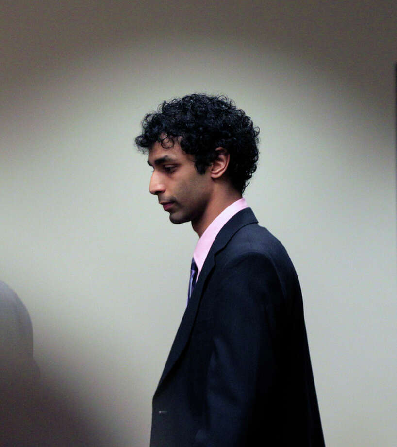 Dharun Ravi arrives at court for his sentencing hearing in New Brunswick, N.J., Monday, May 21, 2012. Ravi, a former Rutgers University student who used a webcam to watch his roommate kiss another man days before the roommate killed himself was sentenced Monday to 30 days in jail. A judge also gave 20-year-old Dharun Ravi three years of probation. (AP Photo/MelEvans) / AP