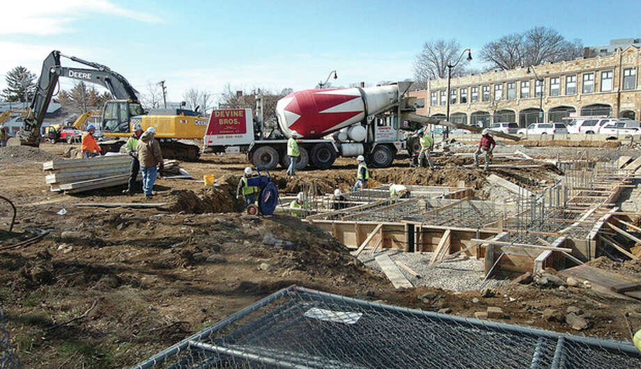 Hour Photo/Alex von Kleydorff. Construction at Waypointe on West ave / 2013 The Hour Newspapers