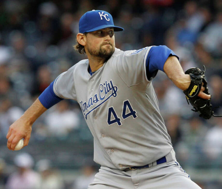 Kansas City Royals starting pitcher Luke Hochevar delivers during the first inning of their baseball game against the New York Yankees at Yankee Stadium in New York, Tuesday, May 22, 2012. (AP Photo/Kathy Willens) / AP